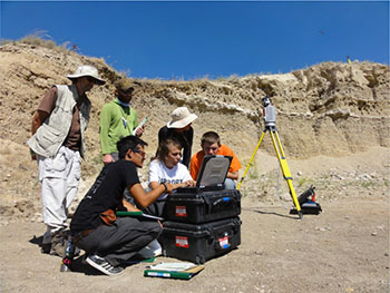 Indiana University Geologic Field Station students operate a terrestrial laser scanner (TLS)