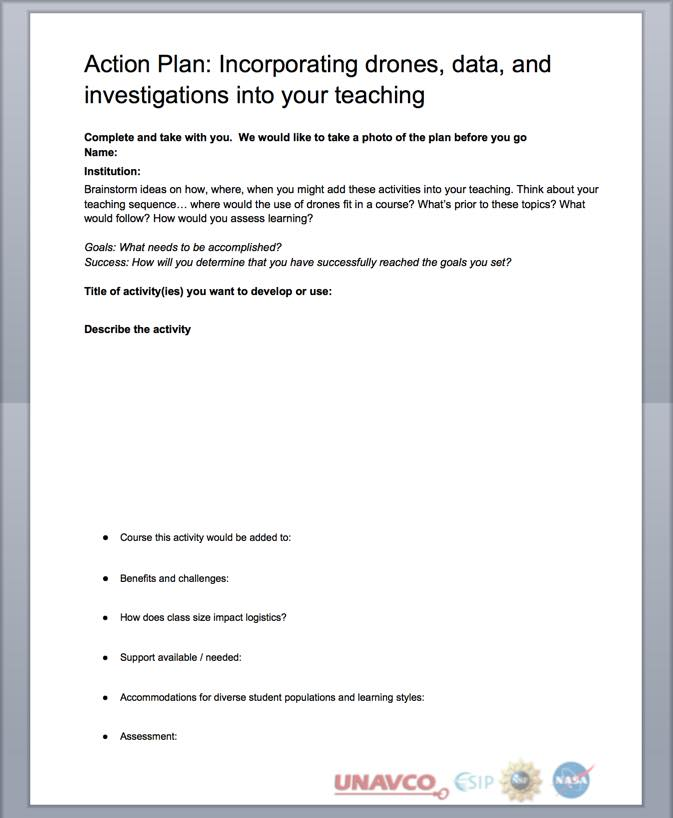 Template for incorporating drones into teaching