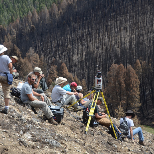 Students on the University of California Davis field camp conduct a TLS survey to determine post-fire changes.