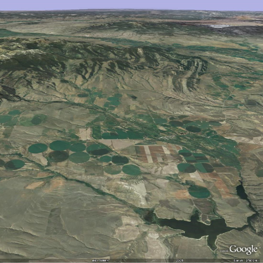 Google Earth image of the Willow Creek watershed. From the GETSI website.