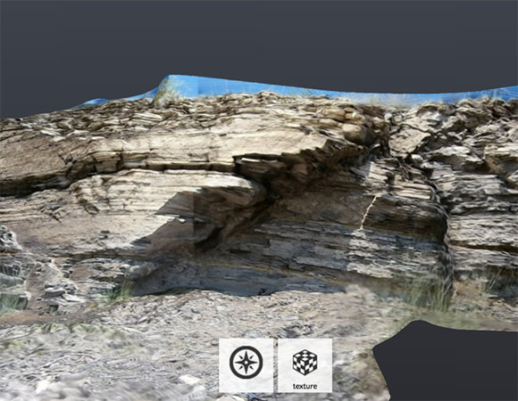 Photo of an outcrop overlaying a point cloud of a 3-dimensional model. A point cloud is a series of data points that have been plotted in a 3-dimensional coordinate system.