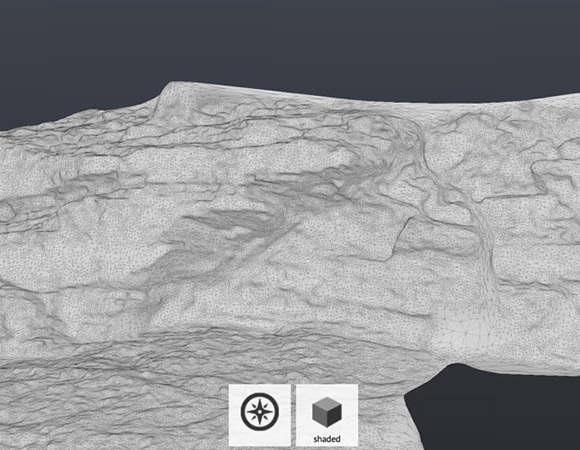 Mesh of a model. A mesh can be created from a point cloud by converting the various data points to surfaces.