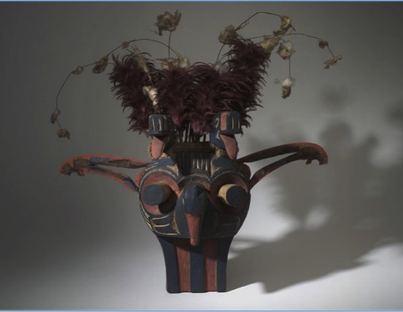 "A dynamic mask from the Swai'xwe tribe, British Columbia representing natural shaking—of the ground and atmosphere.  Ludwin, Ruth S. 2008.   ""Pacific Northwest Earthquakes:  Evidence in Native Myth and Tradition."""