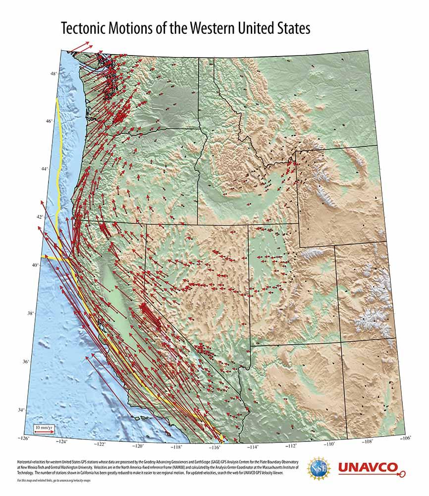 Exploring Tectonic Motions Of Alaska Western United States - Map of us plate boundaries