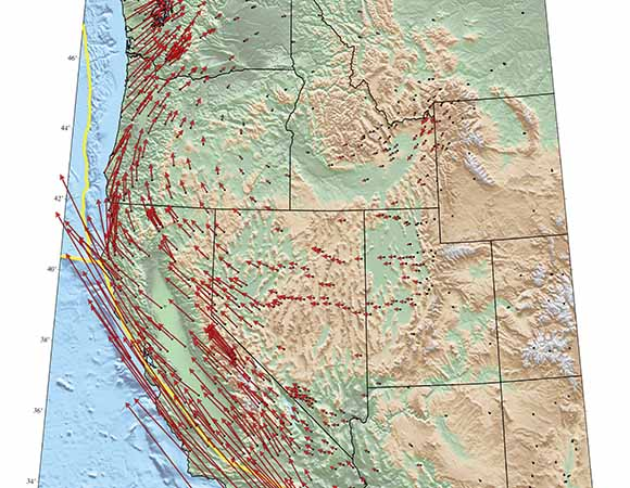 Land motion as measured with high-precision GPS instruments in the Western United States.