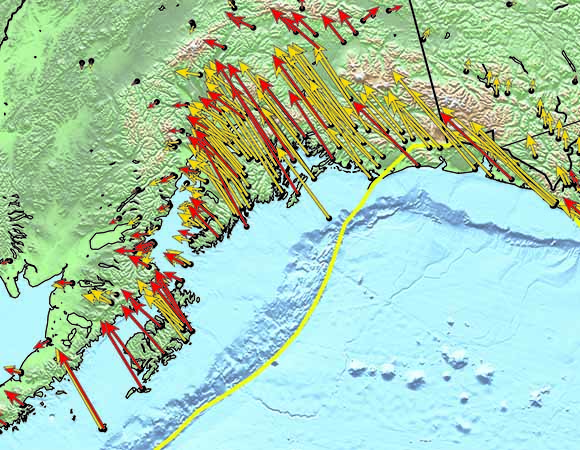 Land motion as measured with high-precision GPS instruments in Alaska.