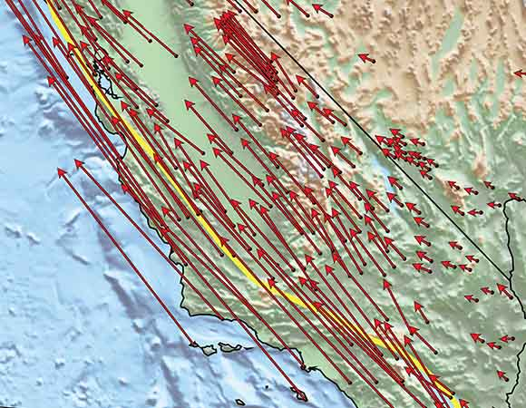 California land motions as measured with high-precision GPS instruments.