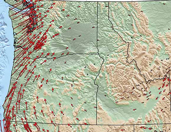 Pacific Northwest (Washington / Oregon / Northern California region) land motion as measured with high-precision GPS instruments in the Western United States.