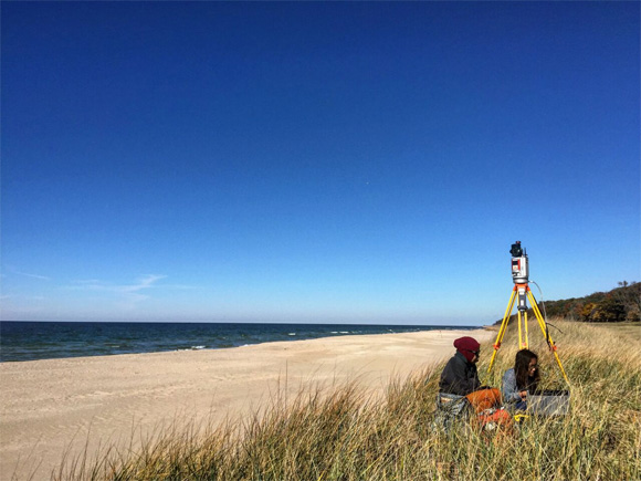 Students from University of Michigan's applied geophysics course learn TLS surveying by analyzing beach geomorphology.