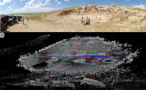 Top image shows a quarry site used by Indiana University Field Camp for the learning TLS survey design. Bottom image shows the survey design of scan locations and tie lines.