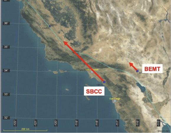 Two Plate Boundary Observatory GPS stations, SBCC and BEMT, move at different velocities along the San Andreas fault.
