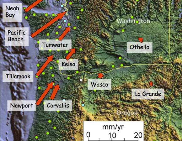 Plate Boundary Observatory station velocities in the Pacific Northwest of the USA.