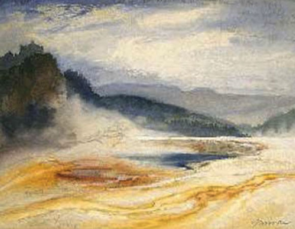 The Firehole River in Yellowstone National Park.  Painted by Thomas Moran in 1871 on the first official survey of the park, the Ferdinand Vandeveer Hayden Survey. Yellowstone Digital Slide Collection.