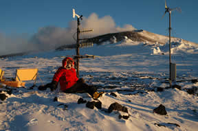 Figure 5 - Beth Bartel at Mt. Erebus permanent GPS site CONZ.
