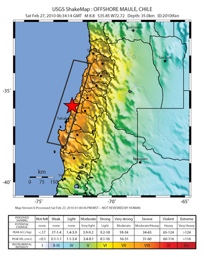 Community Geophysical Event Response Mw Chile Earthquake Feb - Chile physical map