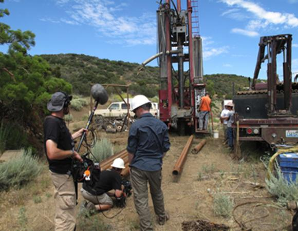 Film crew shoots drilling operations on San Jacinto Fault in California