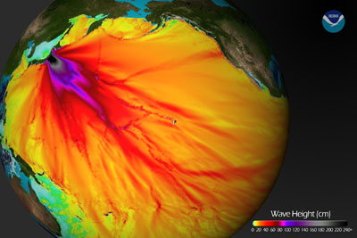 Map of predicted tsunami wave propogation