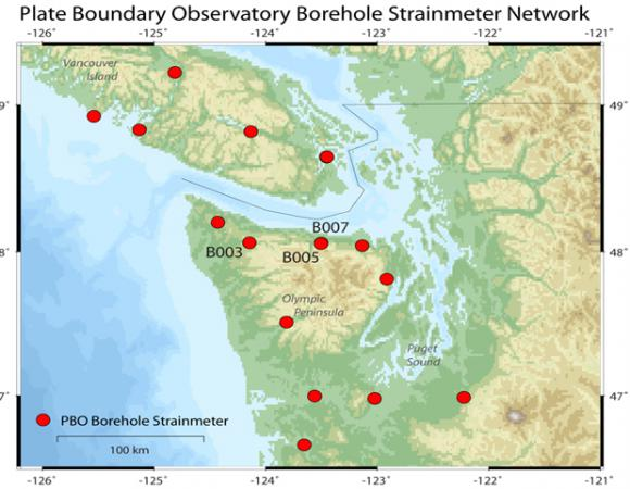 Map of the Plate Boundary Pacific Northwest Strainmeter Network