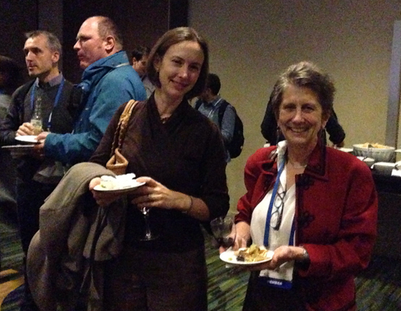 Geodesy Section Award winner and UNAVCO board member Rowena Lohman with UNAVCO president Meghan Miller at the UNAVCO-hosted AGU Geodesy Section reception. Photo by Taunia Luevano.