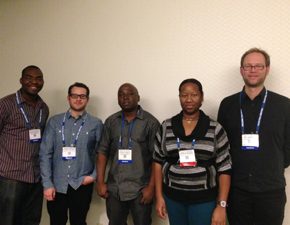Recipients of COCONet graduate student fellowships: Roby Douilly, Esteban Josue Chaves Sibaja, Steeve Symithe, Ophelia George, and Halldor Geirsson. Photo by Taunia Luevano.