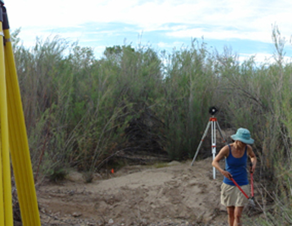 PI Sharon Bywater Reyes of the University of Montana uses pruning shears to trim back the ample vegetation in one of the field locations on the Santa Maria River. The tool came in very handy as a lot of non-essential shrubbery had to be trimmed to allow for line of sight to the reflective control targets. Photo by Sarah Doelger.
