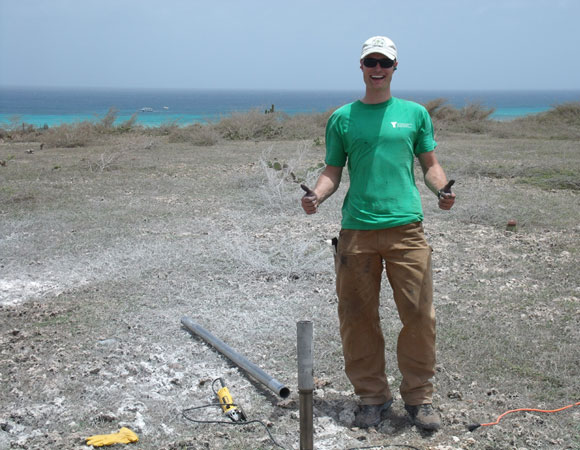 UNAVCO Field Engineer Mike Fend working on cGPS site CN19. Photo provided by Mike Fend.