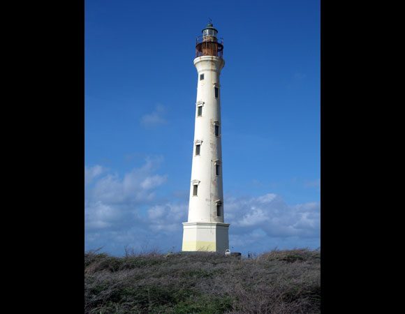 The California Lighthouse, located at the Northwest tip of the island of Aruba. Thousands of people visit this lighthouse each year. The cGPS station was installed near this lighthouse. Photo by Lisandro Arends.