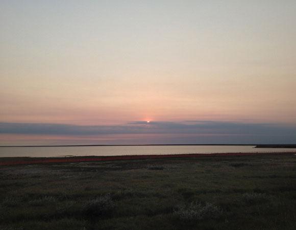 Midnight sun in Atqasuk, Alaska. Photo provided by Brendan Hodge.