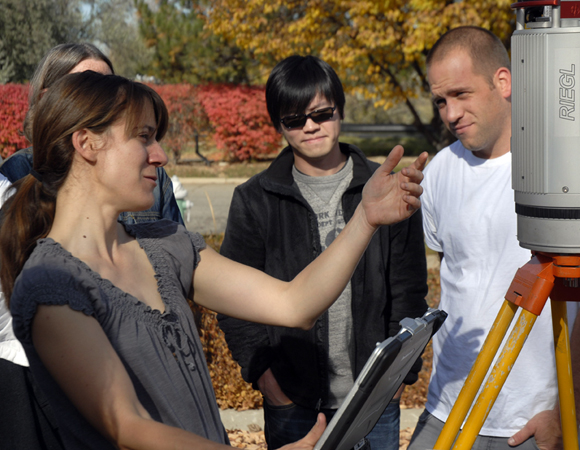 UNAVCO polar engineer Marianne Okal leads a group from a GSA short course through the basics of terrestrial laser scanning (TLS) outside the UNAVCO facility in Boulder, Colorado. UNAVCO currently has five TLS instruments for loan to the Earth science community. Photo by Beth Bartel.