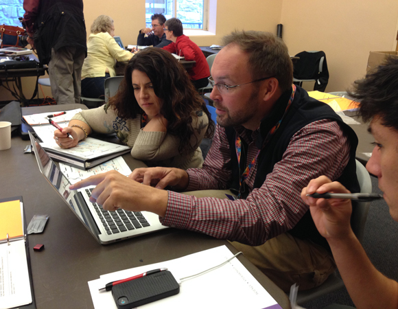Science educators participate in a GSA short course led by UNAVCO Education Specialist Shelley Olds before the 125th Anniversary annual GSA meeting in Denver, Colorado.  The course was entitled Yellowstone National Park as a Hotbed for Inquiry—For Teachers. For more, see http://community.geosociety.org/2013AnnualMeeting/conference/courses. Photo by Shelley Olds.