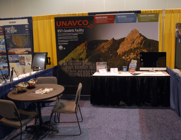 The new 10-foot UNAVCO booth, set up and ready to go for GSA. Photo by Beth Bartel.