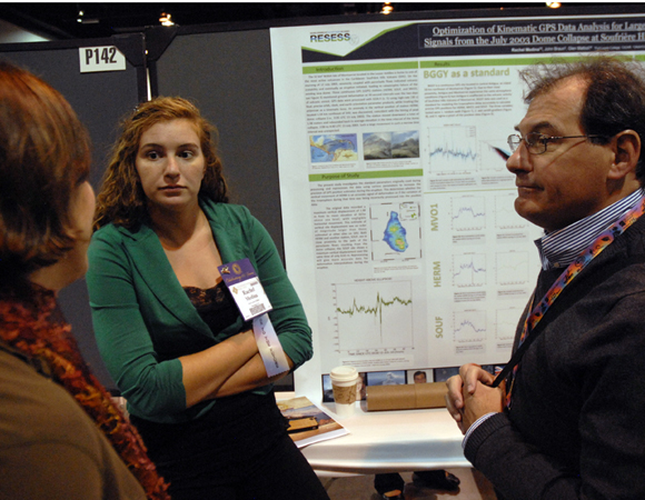 Former RESESS director Valerie Sloan, 2013 RESESS intern Rachel Medina, and research mentor Glen Mattioli speak about the research Medina completed the summer of 2013, represented on her poster at the 2013 annual GSA meeting in Denver. Photo by Beth Bartel.