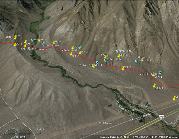 Google Earth depiction of the Hilton Creek Fault and the scan positions (yellow pins) that were surveyed. The blue bubbles represent retroreflective targets that were placed in tandem with GPS instruments. These targets were used as control for the project. Overall, the scanner was placed at 19 separate locations. Image provided by Sarah Doelger.