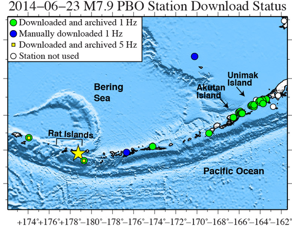 Map showing Plate Boundary Observatory continuous GPS stations near the epicenter (yellow star) of the 2014-06-23 M7.9 earthquake 24km SE of Little Sitkin Island, Alaska. UNAVCO has downloaded high-rate GPS data from 26 stations within ~1,000 km of the epicenter. One-sample-per-second (1-sps) GPS data were collected for a 6-day period (± 3 days) around the main shock. Available five-sample-per-second (5-sps) GPS data were collected for a 12-hour period (± 6 hours) around the main shock, though very few stations in this region support 5-sps data. (Figure by Christine Puskas, UNAVCO.)