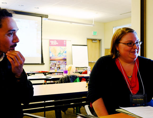 Workshop participants brainstorm how to incorporate EarthScope PBO data and science into their programs and courses. Photo by Shelley Olds.