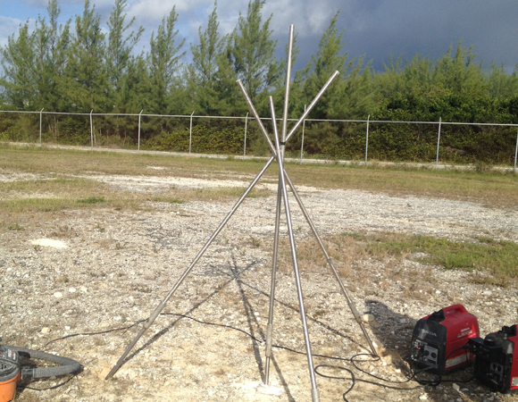 Framework for the GPS antenna monument for CN13 on San Salvador Island, Bahamas. Photo by John Sandru, UNAVCO.