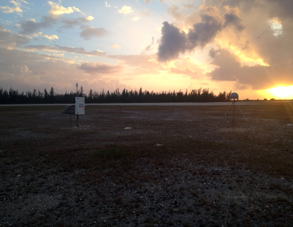 Sunset at the finished site. CN13 on San Salvador Island, Bahamas. Photo by John Sandru, UNAVCO.