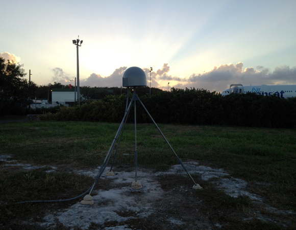 The sun sets on COCONet site CN05 at the Punta Cana International Airport, Dominican Republic. Photo by Mike Fend.