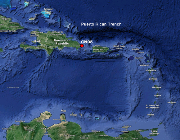 Site CN05 will help geodesists study the Puerto Rican Trench, the deepest part of the Atlantic and the Caribbean. Image modified from Google Maps.