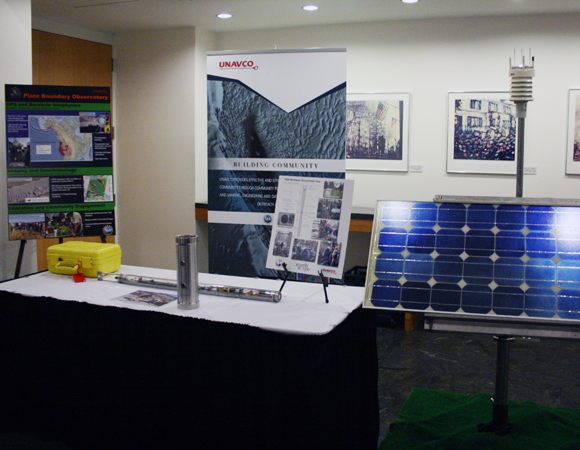 UNAVCO\'s borehole geophysics display for the Plate Boundary Observatory, at the EarthScope evening reception. (Photo/Patrick McQuillan, IRIS)