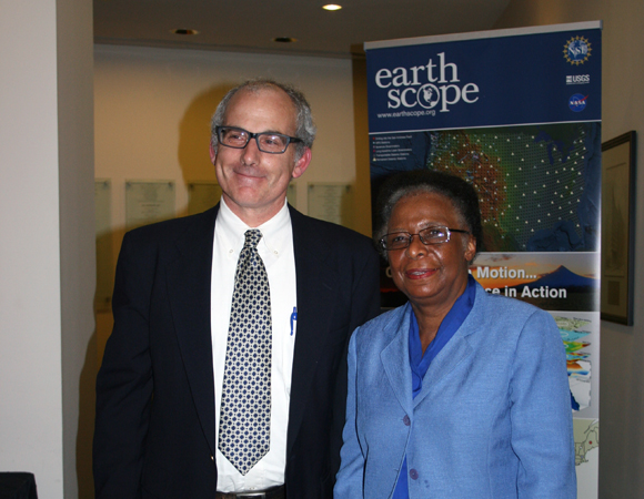 EarthScope National Office director J Ramon Arrowsmith, Arizona State University, stands with NSF Deputy Director Cora Marrett after her keynote remarks. (Photo/Patrick McQuillan, IRIS)
