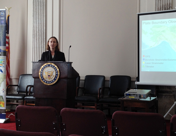 Rowena Lohman of Cornell University speaks on the Hill about the use of the Plate Boundary Observatory in applications as varied as monitoring drought and volcanic ash plumes, studying earthquake dynamics, and measuring snow depth. (Photo/Jeff Freymueller, U. Alaska, Fairbanks)