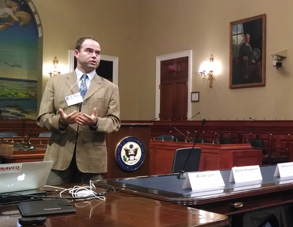 Mark Simons of Caltech speaks on the Hill about how indespensible data from EarthScope has become in US hazards analysis. (Photo/J Ramon Arrowsmith, EarthScope National Office at ASU)