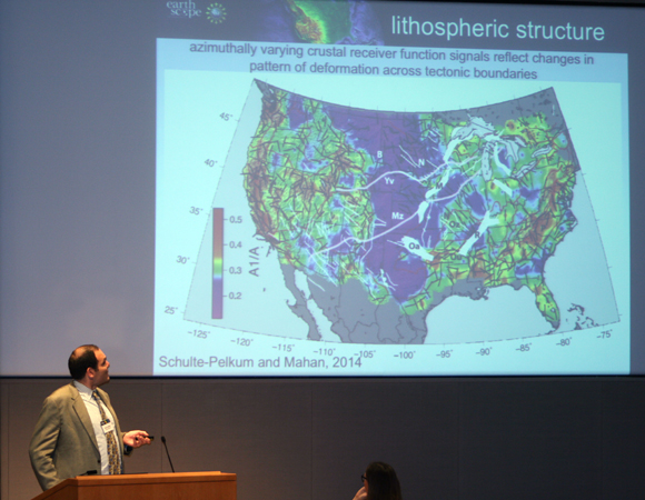 Hersh Gilbert of Purdue University describes major scientific outcomes of the USArray at the science symposium at the AAAS Building on Thursday, May 15, 2014. (Photo/Patrick McQuillan, IRIS)