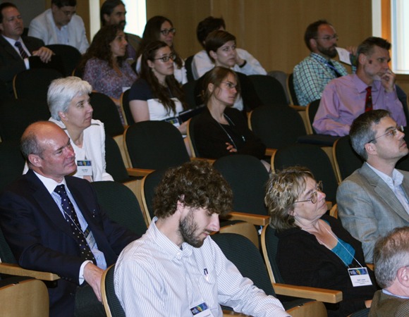 A (mostly) captive audience at the science symposium at the AAAS Building on Thursday, May 15, 2014. Attendees represented academic institutions, funding institutions, and federal agencies. (Photo/Patrick McQuillan, IRIS)