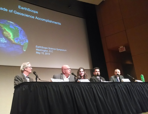 The symposium concluded with a multi-agency panel discussion highlighting the broader impacts of the EarthScope project. Participants included William Leith, USGS; John LeBreque, NASA; Juliana Blackwell, NGS; Iftikhar Jamil, NWS; and Greg Anderson, NSF. (Photo/J Ramon Arrowsmith, EarthScope National Office at ASU)