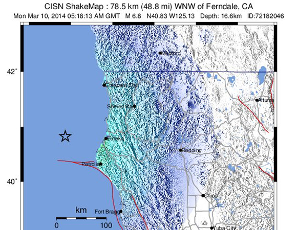 USGS ShakeMap for the Mw 6.8 earthquake 77 km WNW of Ferndale, California. (Figure from USGS.)