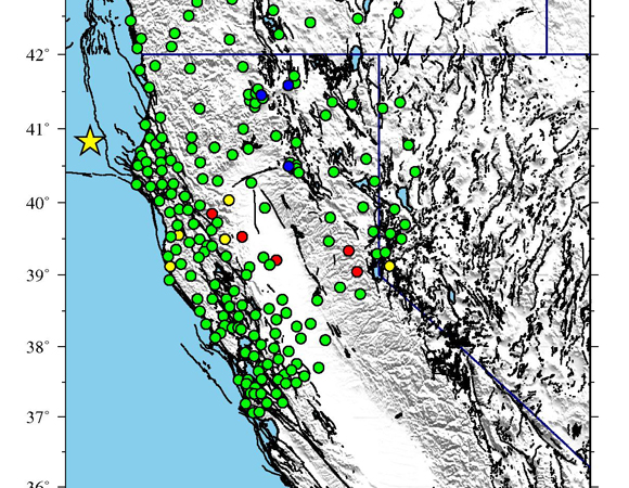 Continuous GPS stations within 500 km of the epicenter of the March 10, 2014 Mw 6.8 earthquake offshore of Eureka, California. UNAVCO downloaded high rate GPS data from a total of 214 PBO stations. One sample-per-second (1-sps) GPS data were collected for a 6-day period (± 3 days) around the event.  Five sample-per-second (5-sps) GPS data were collected for a 12-hour period (± 6 hours) around the event. (Figure provided by Christine Puskas, UNAVCO.)