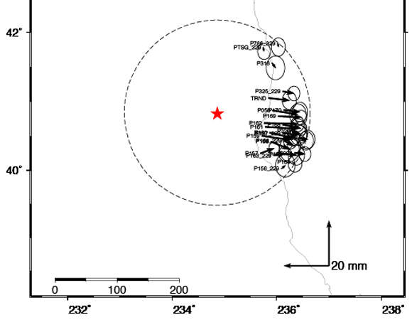 Coseismic offsets at stations affected by this event as estimated by the GAGE GPS Analysis Center Coordinator. (Figure provided by Dr. Thomas Herring, MIT.)