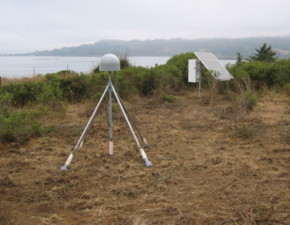 Plate Boundary Observatory station P162, the closest PBO site to the epicenter of the March 10, 2014 Mw 6.8 earthquake offshore of Eureka, California. (Photo from UNAVCO archive.)